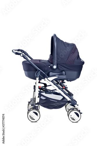 A studio shot of a modern baby stroller