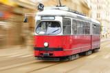 Vintage city tram on moving - 37775275