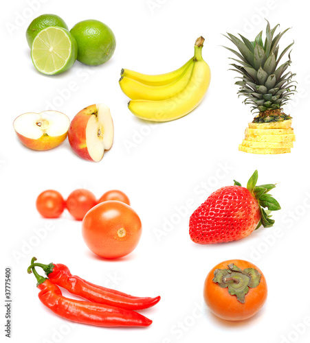 Fruit collection. Isolated on white