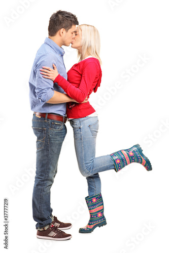 A view of a loving couple kissing