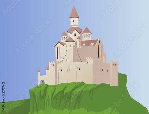 Foto op Aluminium Kasteel Cartoon castle on a rock