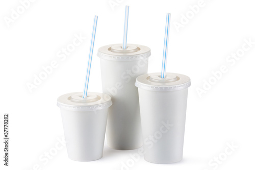 Three disposable cups for beverages with straw