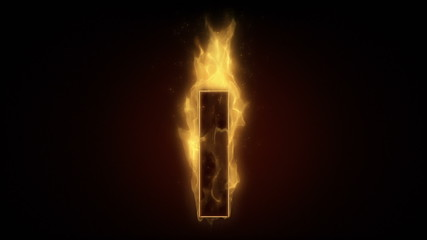 Fiery letter I burning in loop with particles