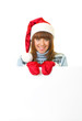 woman in Santa Claus clothes leaning on blank board