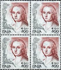 Femme à la Licorne. Raphael. Timbre postal Italien.