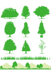 tree icons set vector Silhouette