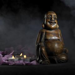 Buddha sculpture in dark back