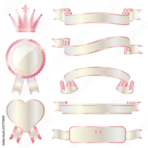 ribbon emblem set pink and white