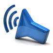Blue speaker icon on white background