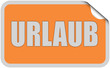 Sticker orange eckig curl oben URLAUB
