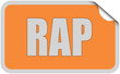 Sticker orange rund curl oben RAP