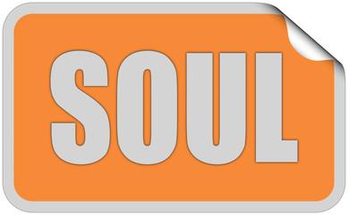Sticker orange rund curl oben SOUL