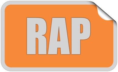 Sticker orange rund curl oben RAP