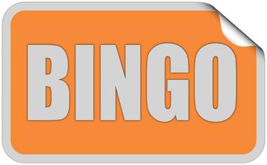 Sticker orange eckig curl oben BINGO