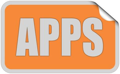 Sticker orange eckig curl oben APPS