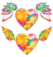 Two beautiful heart with wings