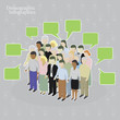 Demographic infographics. Crowd with speech bubbles