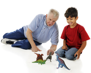Playing Dinosaur with Grandpa