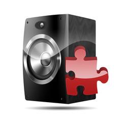 Icono altavoz 3D con simbolo plugin