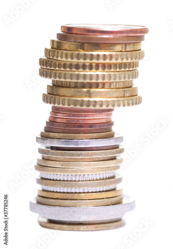 Stack of coins isolated on white.
