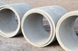 Concrete drainage pipes on construction site