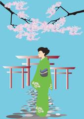 鳥居と桜と女性 torii,woman,cherry