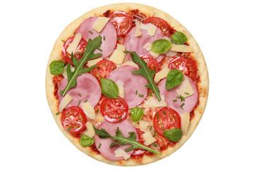 Pizza belegt mit Schinken