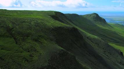 Aerial View of Icelandic Mountain Ridges & Plains