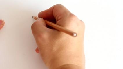 Pencil draws a line, and then erase eraser. HD H.264