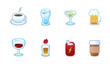 Restaurant menu drinks icon variations