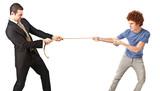 Businessman versus a common person poster
