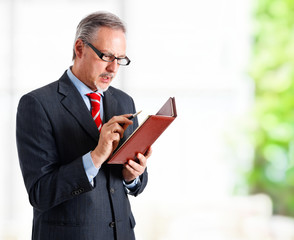 Businessman looking at his agenda