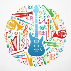 Love for music concept illustration background