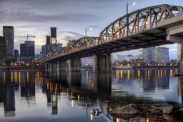 Hawthorne Bridge Across Willamette River by Portland Oregon Wate