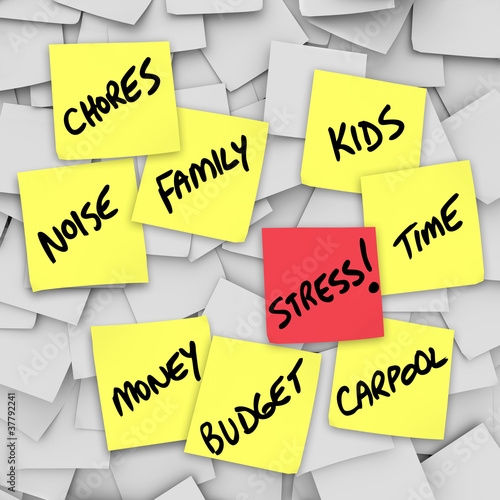 Stress Burdens Sticky Notes Reminders for Stressful Life