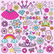 Princess Tiara Fashion Notebook Doodle Vector Icon Set
