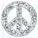 Sketchy Doodle Peace Sign Vector Illustration poster