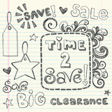 Sale Sketchy Doodles Shopping Coupon Vector Illustration poster