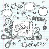 Sketchy Doodles Sale Shopping Coupon Vector Illustration poster