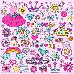 Princess Tiara Fashion Notebook Doodle Vector Icon Set