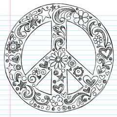 Sketchy Doodle Peace Sign Vector Illustration