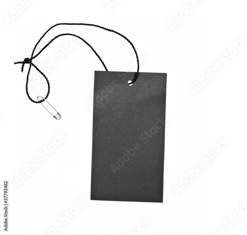 Empty black paper tag isolated on white background - 37793462