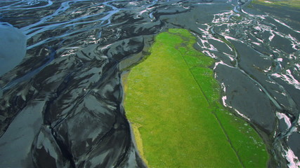 Aerial View of Green Acres by River Deltas, Iceland
