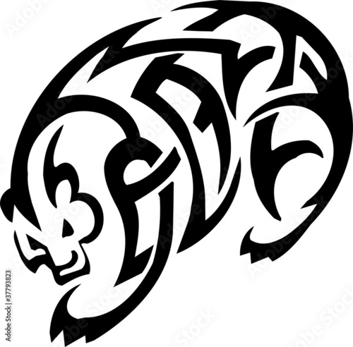 Tribal Grizzly Bear - vinyl-ready vector illustration!