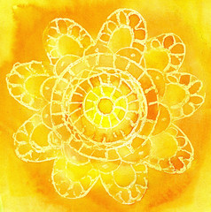 Watercolor a pattern in the form of an  lace doily on a yellow b