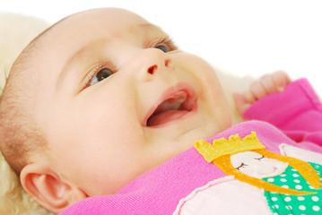 Cute smile little baby face closeup