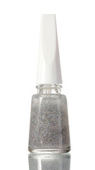 Silver nail polish with sparkles isolated on white