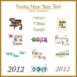typographic set of twelve  funky styles text for happy new year. poster