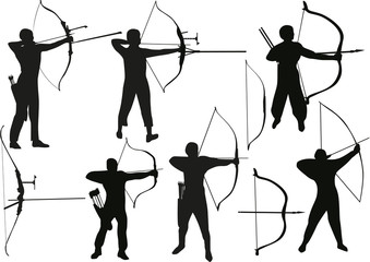 set of archers isolated on white
