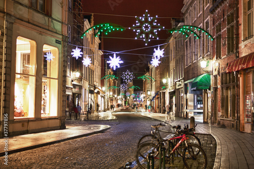 Street with christmas decoration at night